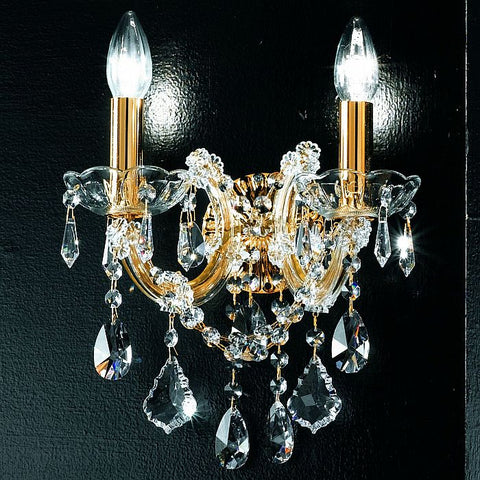Ornate gold wall chandelier with Asfour crystals & 2 lights