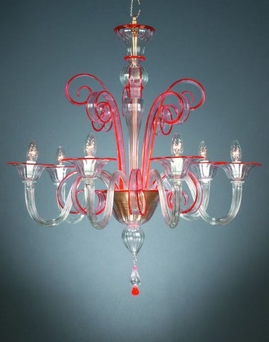 Murano crystal  and red glass chandelier