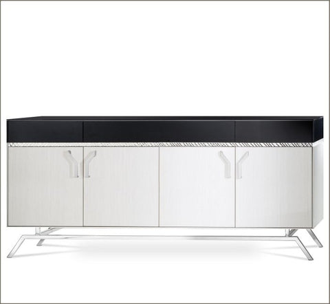 Pale wood Venetian mirrored sideboard in the art deco style