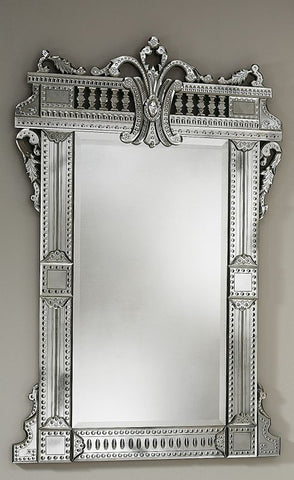Classic French style Venetian mirror with decorative crest
