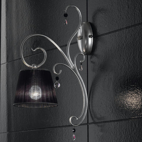 'Venezia' classic silver wall light with Murano glass drops