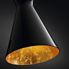 Dramatic black Murano glass pendant light with gold interior
