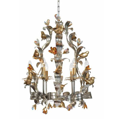 Chandelier in Silver Metal with Gold Birds & Glass Crystals