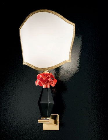 Black and coral Murano glass wall light with flower detail