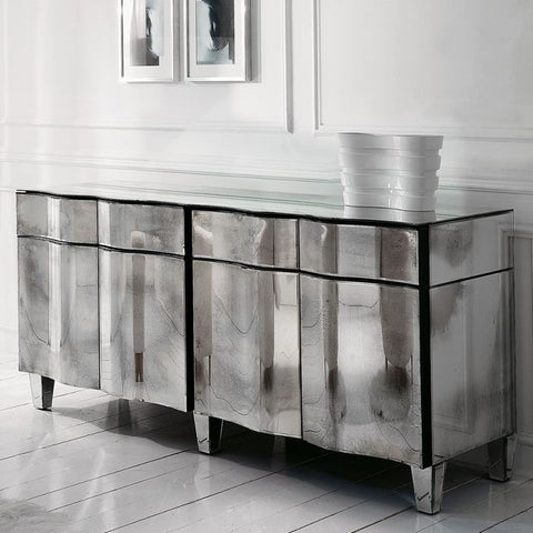art deco-inspired Venetian mirrored sideboard