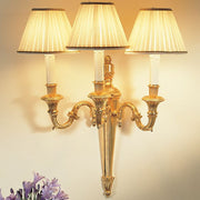 Traditional Italian 3 light wall sconce with pleated silk shades