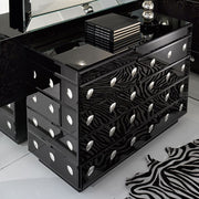 Dramatic art deco chest of drawers in black Venetian glass