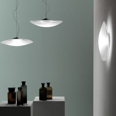 Loop F35 G03 white glass wall and ceiling light from Fabbian