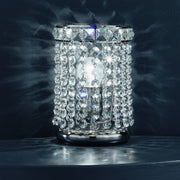 Lead crystal table lamp with a shiny nickel frame