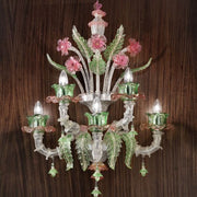 Silver, pink & green Murano glass floral wall light