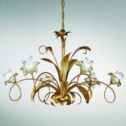 Narciso 6 light traditional metal & glass flower chandelier