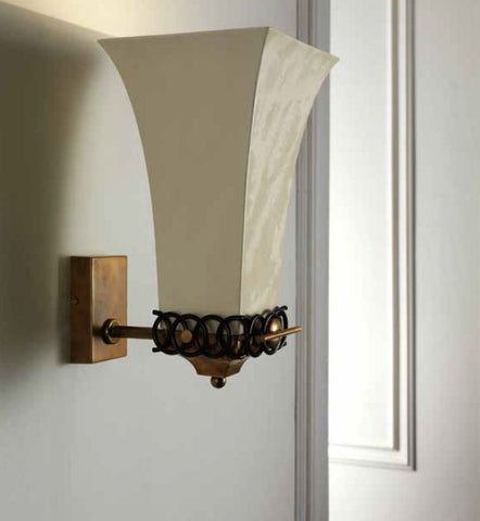 Chic wall light with silk shade & black enamelled decoration