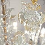 Large gold and white Murano glass Rezzonico chandelier