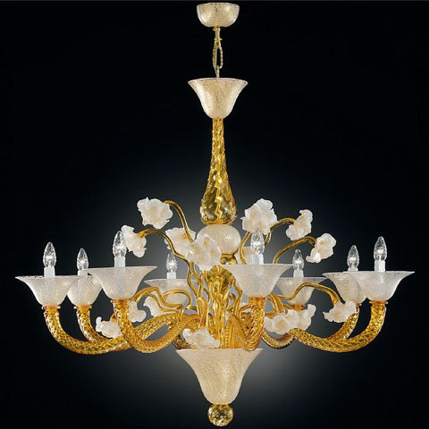 Murano amber & cracked ice glass 8 light chandelier