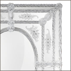 Venetian over-mantel mirror with Murano cristallo glass flowers