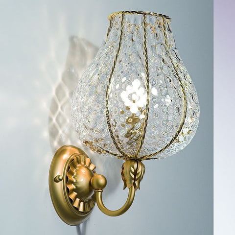 Clear baloton crystal and gold wall light