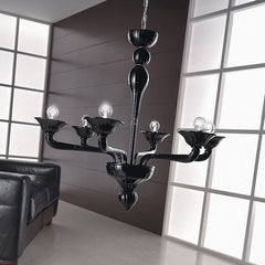 Black six light Venetian-style handblown chandelier from Italy