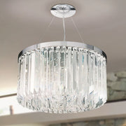 Luxurious modern mid-century crystal prism drum pendant