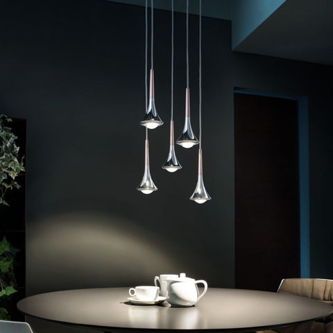 Rain 5 light cluster in 6 metal finishes