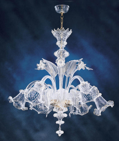 Murano glass chandelier with flowers and leaves