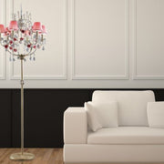 French gold floor chandelier with pink roses and pink shades