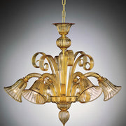 Amber glass six light Murano Chandelier