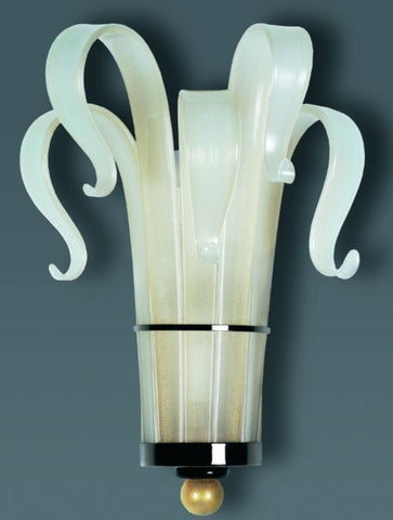 White, gold & black Murano glass art deco wall lamp