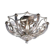 3 Lamp Modern Ceiling Light in Glass &  Silver Metal