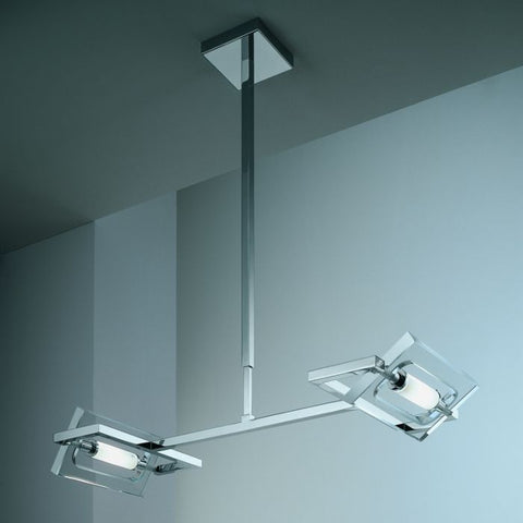 Micron chrome and glass double ceiling light