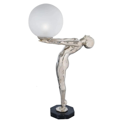 Contempory Silver Table Lamp inspired by Human Forms