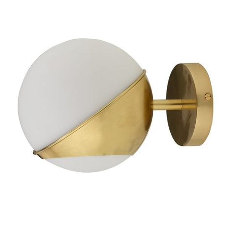 White Globe Wall Lgt with Brass Frame