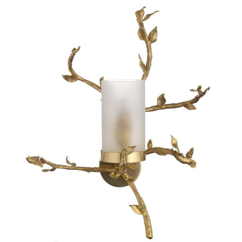 Beautiful Brass Branched Wall Light with Opaline Glass Diffusor