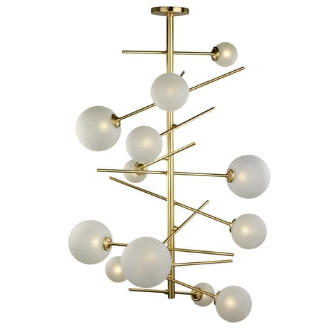 12 Light Glass Sphere Chandelier with Brass Frame