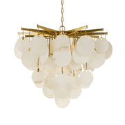 White Alabaster Pendant Chandelier with Brass Frame