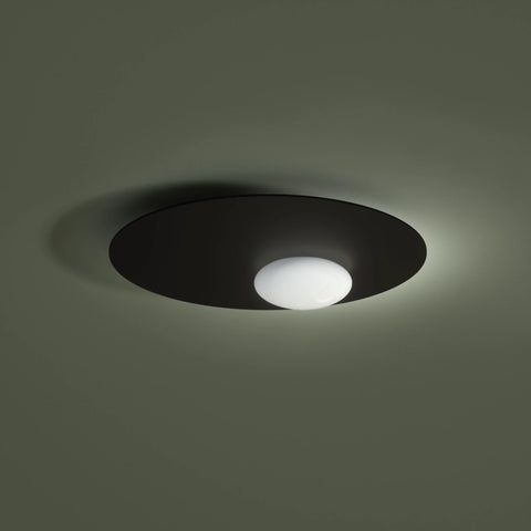 Metalic Ceiling Light with Opaline Blown Glass Diffusor