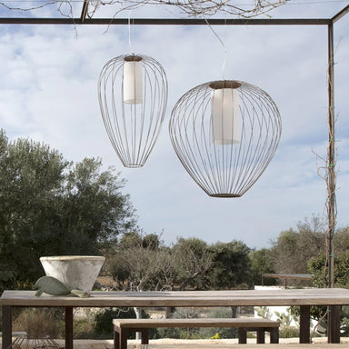 Modern Metal Caged Outdoor Ceiling Pendant