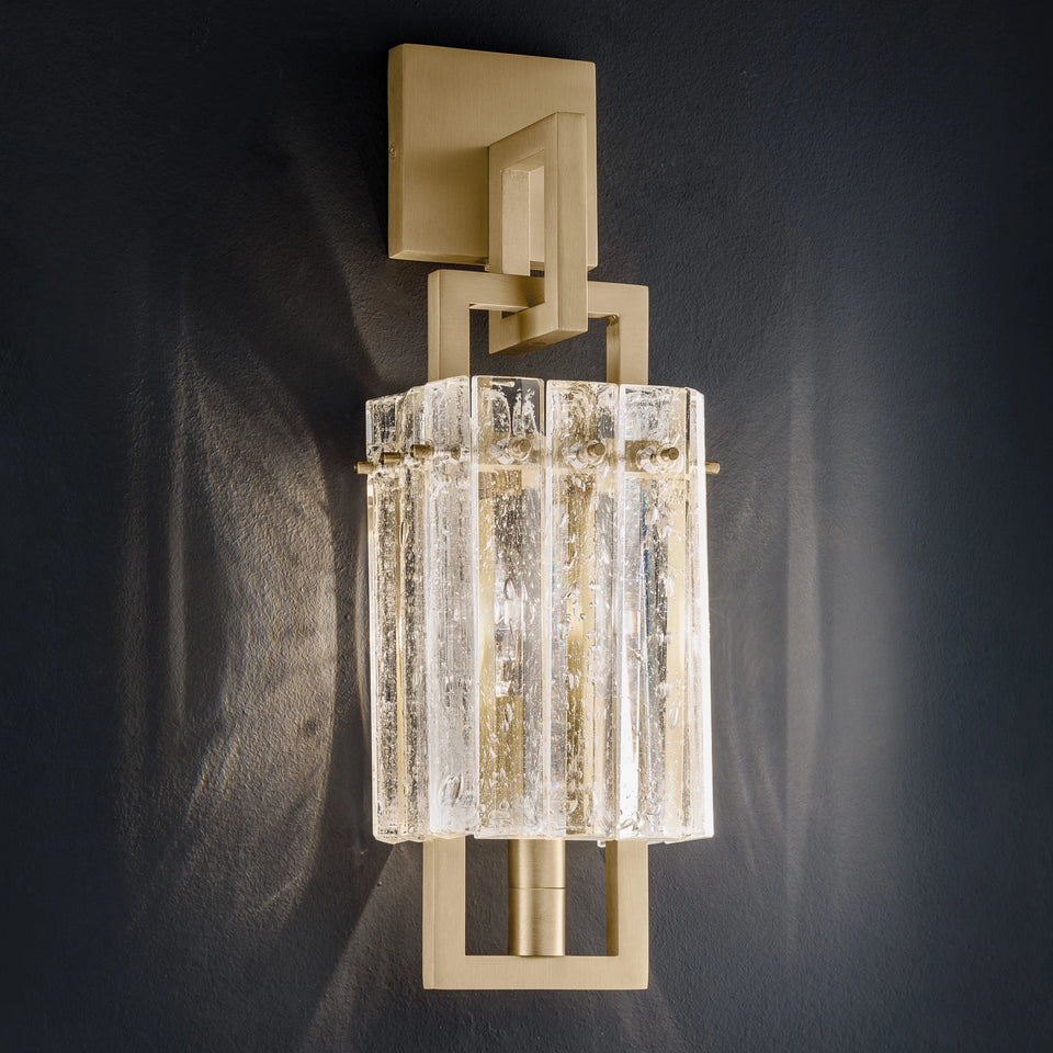 Modern Gold Wall Light With Glass Panels Inspired By Rock Crystals Italian Lighting Centre