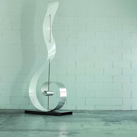 Polished Metal Floor Lamp inspired by Dynamic Ribbons