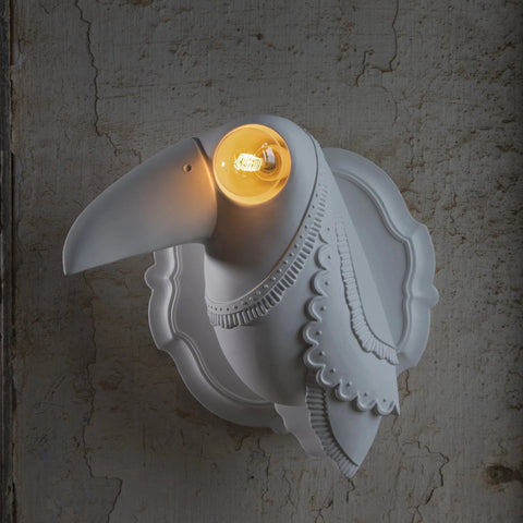 Statement White Bird Ceramic Wall Light