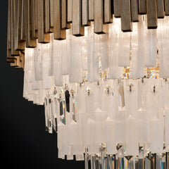 Modern metal and rock crystal chandelier with custom frame finish