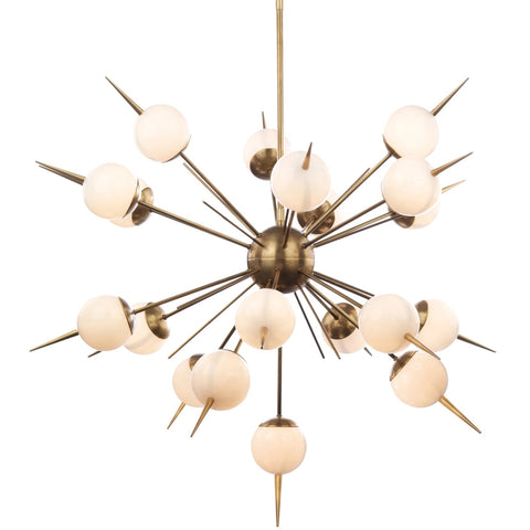 Mid Century Sputnik Style Chandelier with Opaline Spheres
