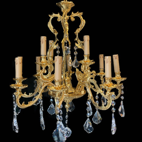 Traditional Gold Plated 12 Light Chandelier with Asfor Crystals