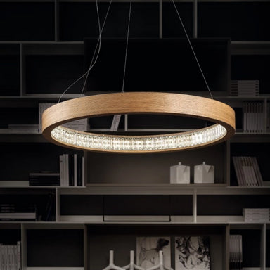 Modern Round Ceiling Pendant in Oak
