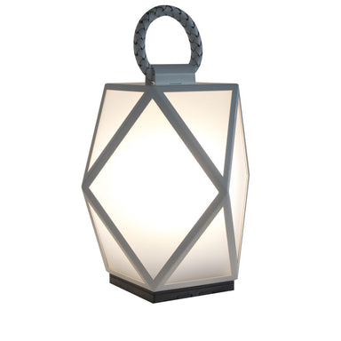 Contardi Muse Outdoor Battery Operated Lantern | table lamp | white and black battery exterior operated lantern