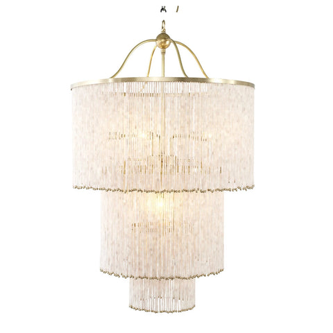 Art Deco Blush Glass Straw Chandelier