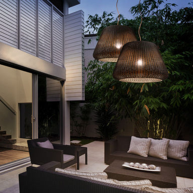 Exterior Hand Woven Suspended Lamp | outdoor modern rattan suspended lamp | woven lamp shade pendant | LED | outdoor lighting