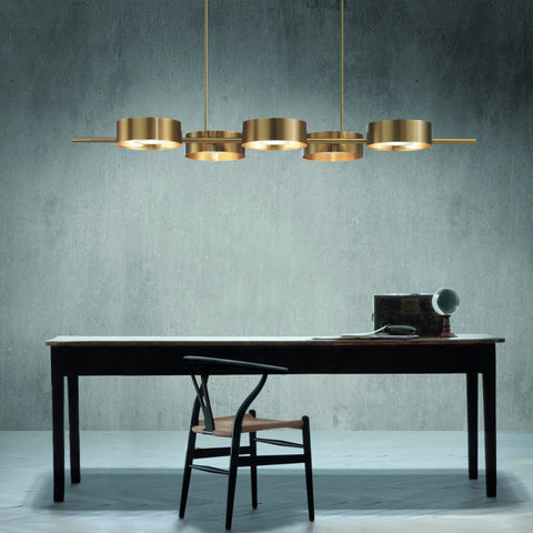 Modern Gold Metal Chandelier with 5 Circular Pendants