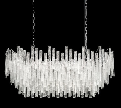Mid Century 120cm Chandelier with Graniglia Clear Hand Cut Glass