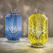 Modern Hand Blown Murano Clear, Blue and Yellow Glass Table Light