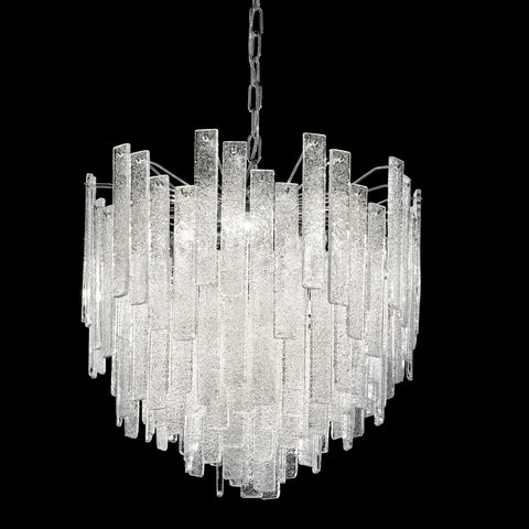 Mid Century Round Chandelier with Clear Graniglia Hand Cut Glass